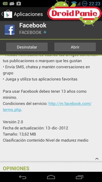 Facebook para Android actualizado a 2.0
