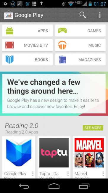 """Nueva apariencia para Google Play Store y la confirmación del nombre de """"Babel"""""""